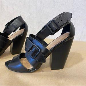 Aldo black genuine leather chunky heels
